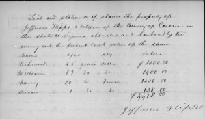 List and statement of slaves the property of Jefferson Flippo